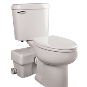 Complete macerating toilet system, elongated, white, HET, 1.28 GPF
